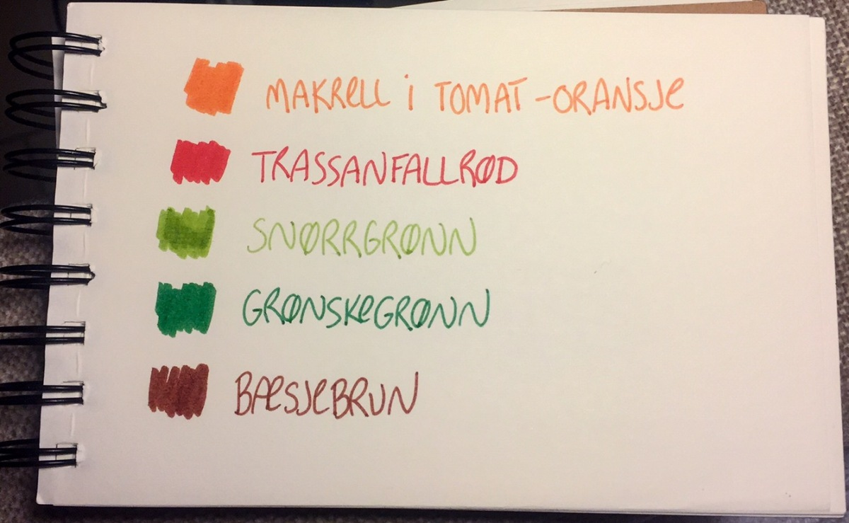 Fargekart med alternative fargenavn