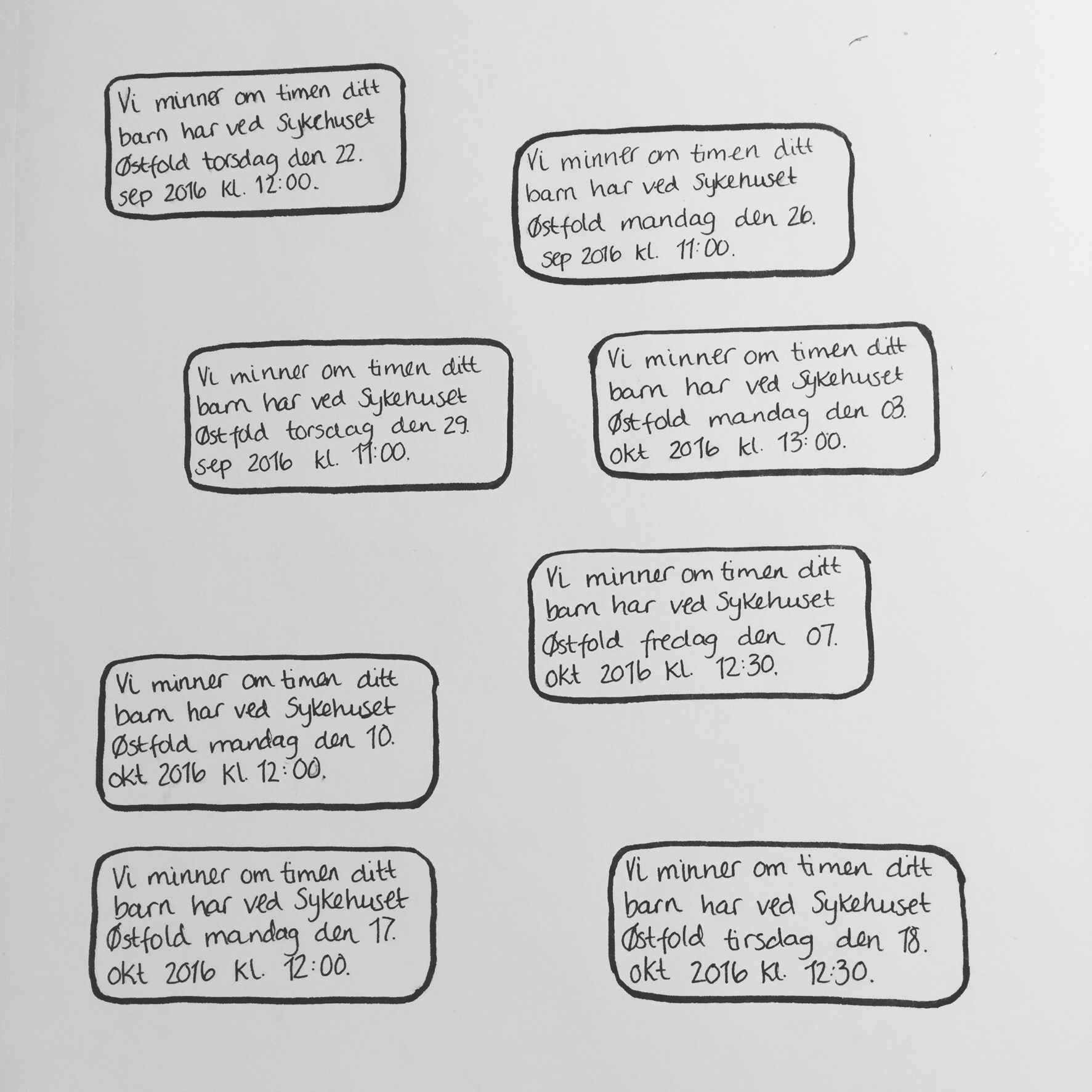 Tegning av tekstmeldinger med påminnelser av avtaler
